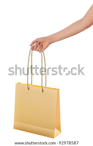 Paper shopping bags from the supermarket in the hand - stock photo