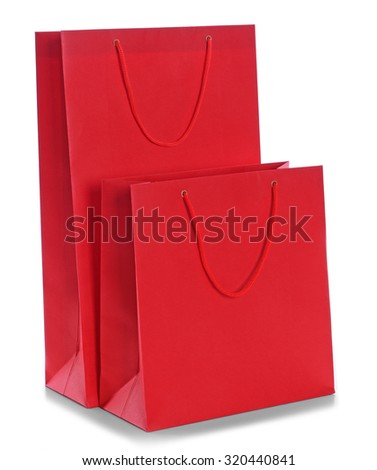 Paper shopping bags isolated on white - stock photo