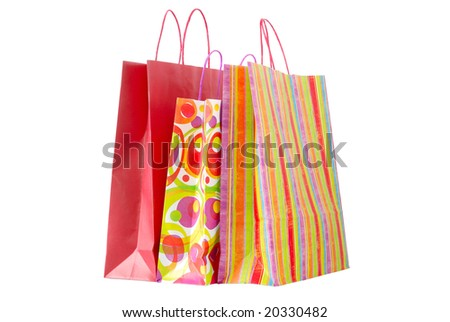 Paper shopping bags - isolated on white background - stock photo
