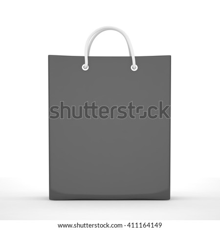 Paper Shopping Bags isolated on white background. 3d rendering. - stock photo