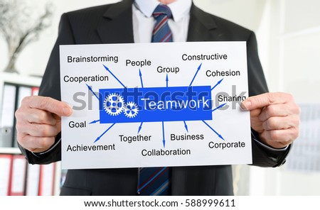 Paper showing teamwork concept held by a businessman