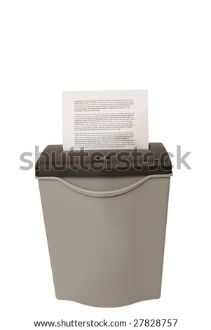 paper shredder isolated on a white background - stock photo