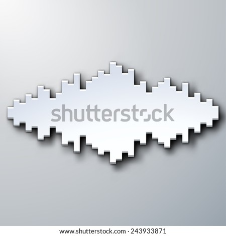 Paper silhouette of sound waveform sign with shadow - stock photo