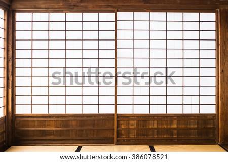 paper sliding door called Shoji in Japanese  - stock photo