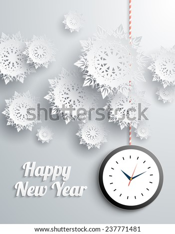 Paper snowflakes Happy New Year text with balls and watch on gray background. Raster version