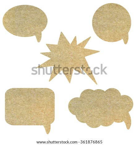 Paper speech bubbles set isolated on white background