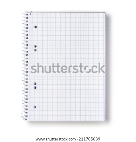 Paper spiral squared notebook isolated on white background.  Clipping path. - stock photo