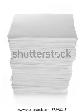 Paper Stack with path in isolated white background - stock photo