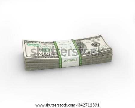 paper stacks of hundred Bills isolate on white - stock photo