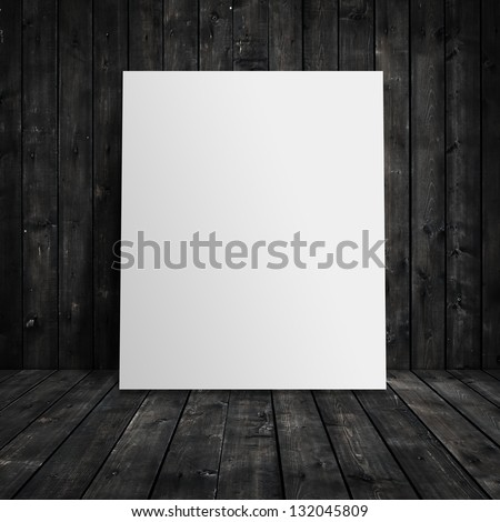 paper stand and wooden interior - stock photo