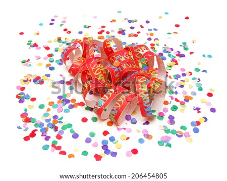 paper streamer and confetti - stock photo