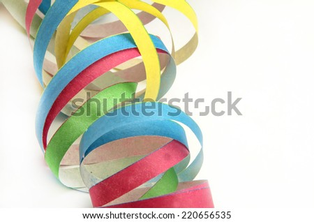 Paper streamers in different color - stock photo