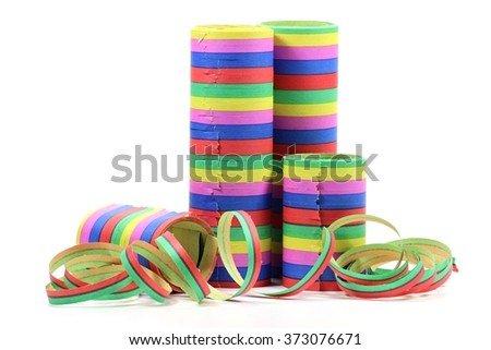 paper streamers isolated on white background