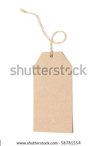 Paper Tag Isolated On White Background - stock photo
