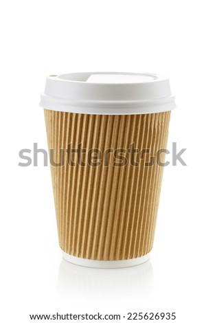 Paper take away coffee cup isolated on a white background - stock photo