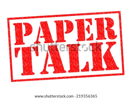 PAPER TALK red Rubber Stamp over a white background.