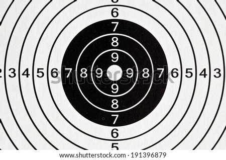 Paper target with black and white circles for shooting airguns