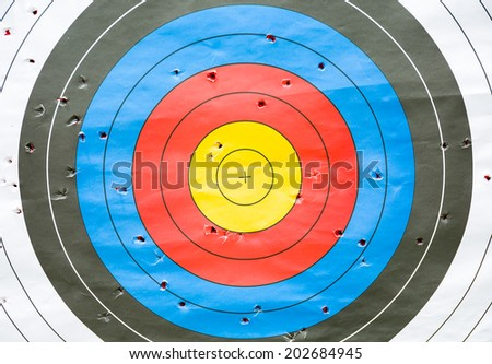 Paper targets the archer on the background. - stock photo