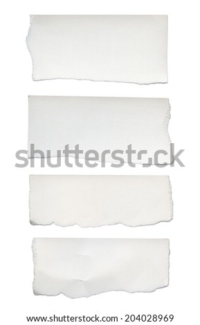 Paper tears, isolated on white - stock photo