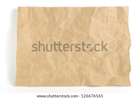 Paper texture brown paper sheet  on white background - stock photo