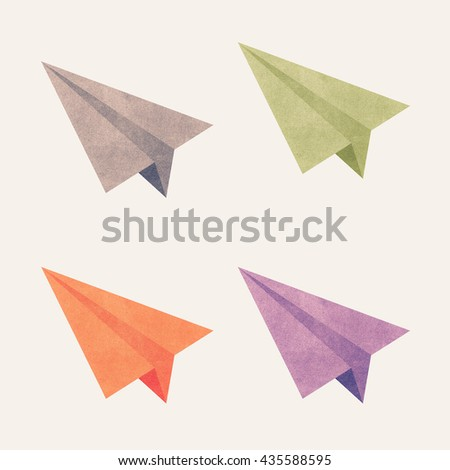 Paper texture,Colorful paper airplanes. Illustration on white background - stock photo