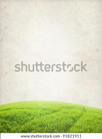 paper texture. Green field in grunge and retro style - stock photo