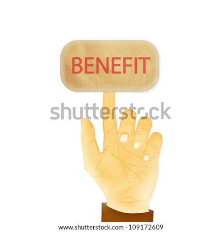 Paper texture ,Hand gesture pointing at  benefit - stock photo