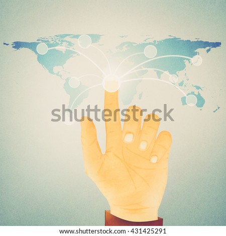 Paper texture ,Hand pressing digital button on world map - stock photo