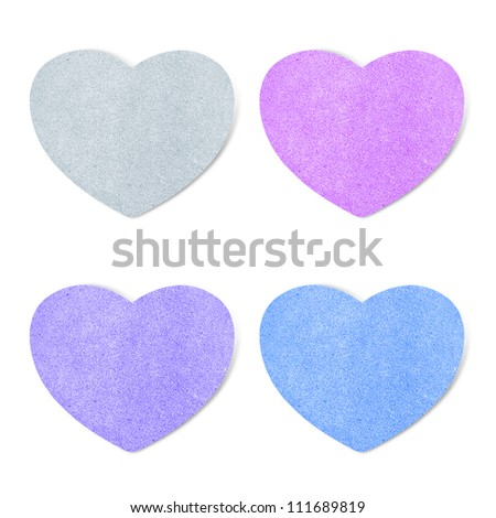 Paper texture ,heart on white background - stock photo