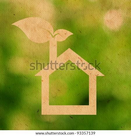 paper texture of eco house logo - stock photo