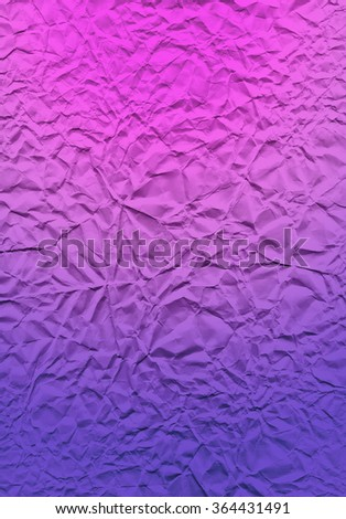 Paper texture with gradient overlay. The multi-colored bright texture of crumpled paper. Pink and purple expressive texture of the old paper. - stock photo