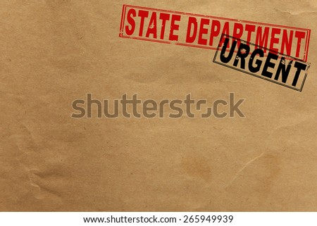 Paper texture with state department and urgent rubber stamps