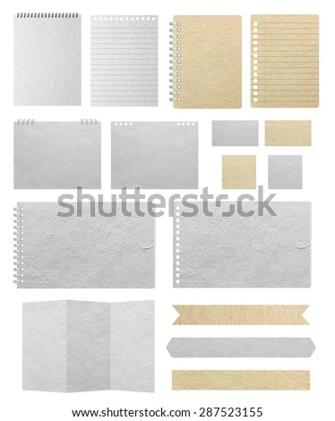 Paper textures background, isolated on white background Save Paths For design work ( paper sheets, lined paper, note paper, calendar, business card, notebook paper, paper banner ) - stock photo