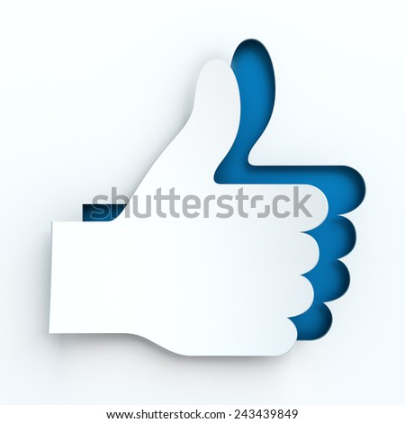 Paper thumbs up sign, 3d render, white background - stock photo