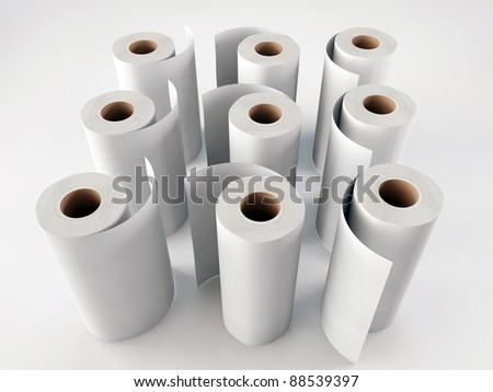 paper towels isolated on white background - stock photo