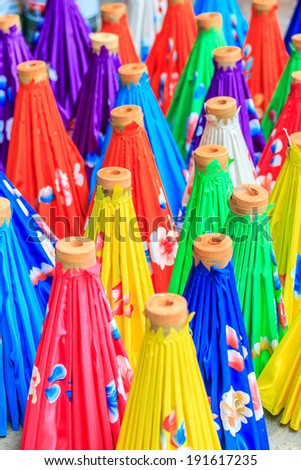 Paper umbrella handmade umbrella Chiang Mai Thailand - stock photo