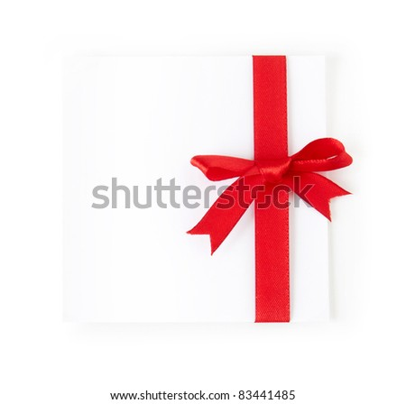 paper with a bow isolated on white - stock photo