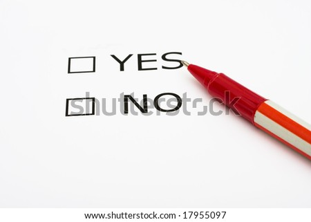Paper with boxes with the words yes and no with a pen, voting - stock photo