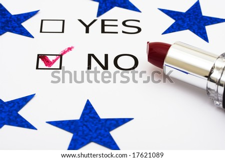 Paper with boxes with the words yes and no with lipstick and blue stars, voting - stock photo