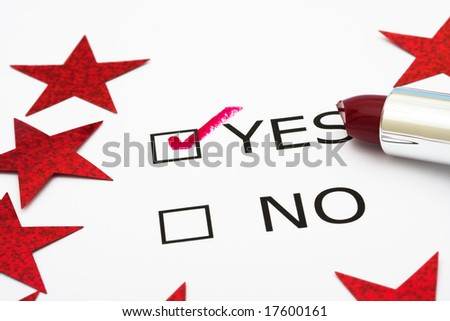 Paper with boxes with the words yes and no with lipstick and red stars, voting - stock photo