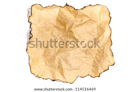 paper with burned edges texture backgound isolated on white - stock photo