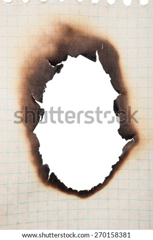 Paper with burnt hole - stock photo