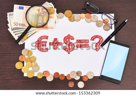 paper with business formula and money - stock photo
