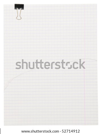 paper with clip on white background