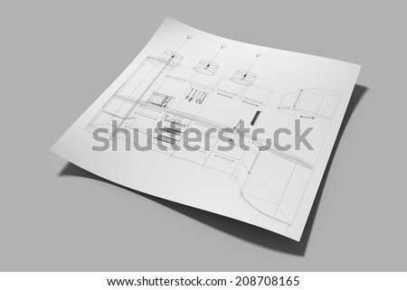 paper with drawing in perspective view