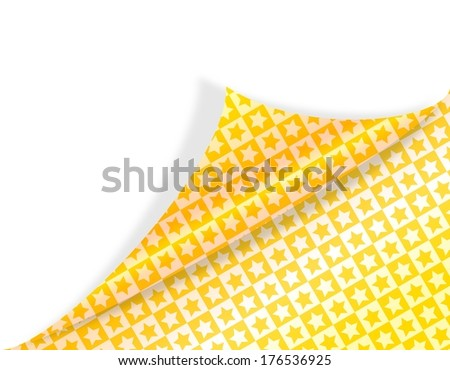 Paper with folded corner and gold stars - illustration - stock photo