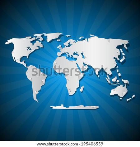 Paper World Map Illustration on Blue Background