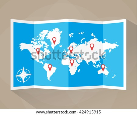 Paper world map with location icons. map icon, map, illustration in flat design on brown background