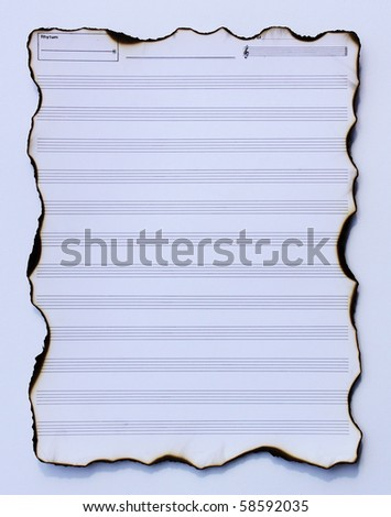 paper writing songs on white paper - stock photo
