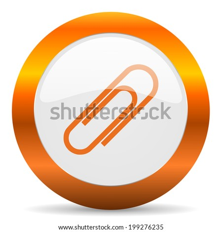 paperclip computer icon on white background - stock photo